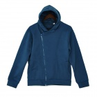 ARSUXEO Fashionable Men's Casual Zipper Polyester Hooded Hoodie - Blue (XL)