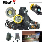 UltraFire Water-Resistant 800lm 3-Mode Cool White Headlight Headlamp w/ Touch Switch (1 x 18650)