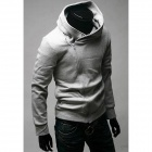 Fashionable Men's Casual Zipper Polyester Hooded Hoodie Coat - Light Grey (XL)