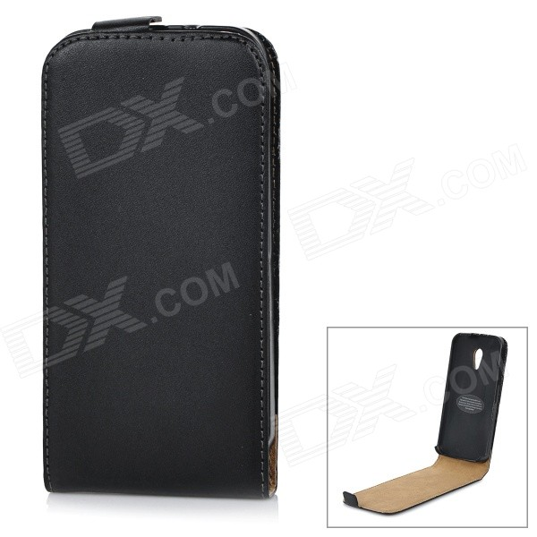 Protective Top Flip-Open Leather Case for Motorola MOTO G2 - Black