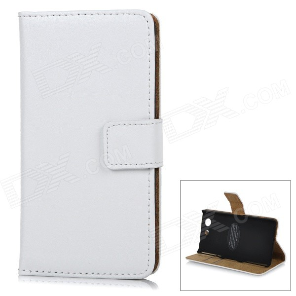 Flip-Open Leather Case w/ Stand, Card Slots for Xperia Z3 Mini - White