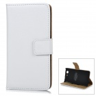 Protective Flip-Open Leather Case w/ Stand / Card Slots for Sony Z3 Mini / Xperia Z3 Compact - White