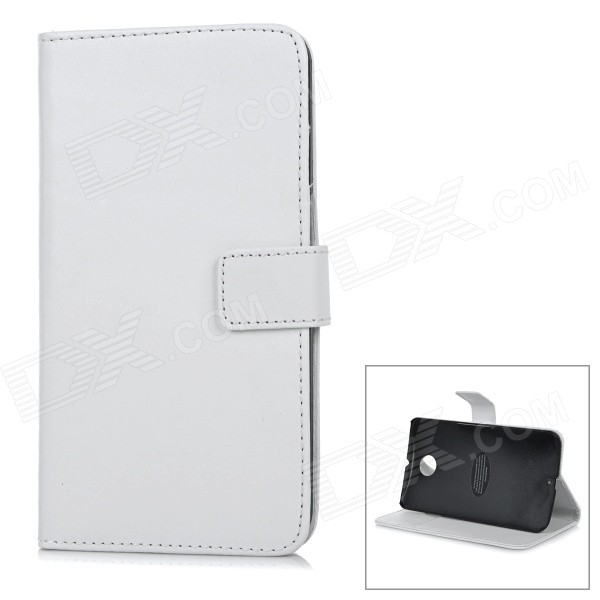 Protective Flip-Open Leather Case Cover for Motorola NEXUS 6 - White