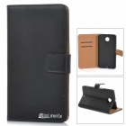 Protective Flip-Open Leather Case Cover w/ Stand / Card Slots for Motorola NEXUS 6 - Black