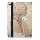 Patterned PU + PC Case w / Auto sono para IPAD Ar 2 - Bege + Branco