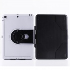 Ultra-Slim Protective TPU Case w/ Rotatable Stand for IPAD AIR - White + Black