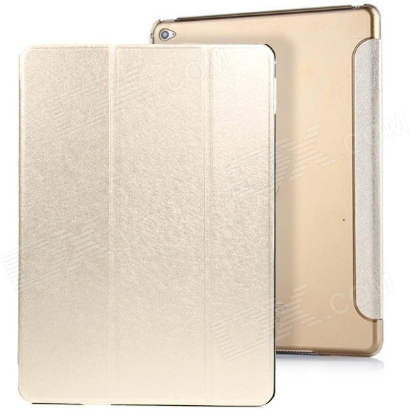 3-Fold PU capa stand w / auto sleep para IPAD AIR 2 - ouro