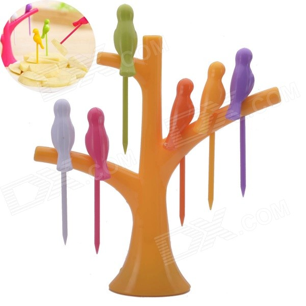 Bird-on-the-Tree Style Birdie Fruit Forks + Holder Set - Yellow