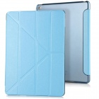 3-Fold PU Case Cover w/ Auto Sleep + Stand for IPAD AIR 2 - Blue