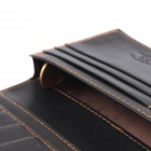 T813-3 Men's PU Long Wallet Purse - Black + Yellow