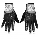 NUCKILY PD01 Women's Ultra-Thin Full-Finger Touch Screen Cycling Gloves - Black + Grey (XL / Pair)