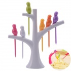 NEJE Creative Bird-on-the-Tree Style Birdie Fruit Forks + Holder Set - White + Multi-Colored