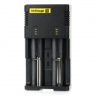 NiteCore I2 Universal Dual-Slot Rechargeable Battery Charger - Black (UK Plug)