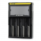 "NiteCore D4 Universal 3.3"" LCD 4-Slot Rechargeable Battery Charger - Black (UK Plug)"