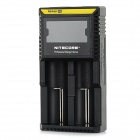 "NiteCore D2 Universal 2.2"" LCD Dual-Slot Rechargeable Battery Charger - Black (UK Plug)"