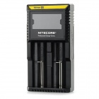 "NiteCore D2 Universal 2.2"" LCD Dual-Slot Rechargeable Battery Charger - Black (EU Plug)"