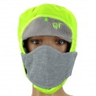 Men's Winter Outdoor Sports Warm Hat w/ Removable Face Mask - Fluorescent Green + Grey