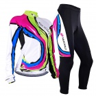 NUCKILY CJ131CK131 Frauen Outdoor Radsport Long Sleeves Jersey + Pants Set - Weiß + Deep Pink (L)