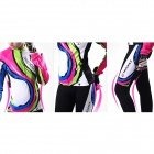 NUCKILY CJ131CK131 Women's Outdoor Cycling Long Sleeves Jersey + Pants Set - White + Deep Pink (L)
