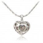 Rshow Women's Stylish Hollow Out Heart Style Pendant Necklace - Silver