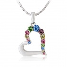 Rshow Women's Heart Style Rhinestone Inlaid Pendant Necklace - Silver + Multi-Color
