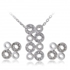 Rshow Stylish Crystal-studded Necklace + Earrings Set - Silver