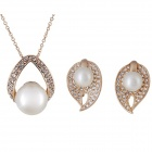 Rshow Pearl / Crystal Studded Pendant Necklace + Earrings Set - Gold + White