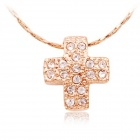 Rshow Stylish Rhinestone-studded Cross Pendant 18K RGP Necklace - Gold
