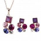 Rshow Exquisite Crystal-studded Pendant Necklace + Earrings Set - Light Purple + Pink