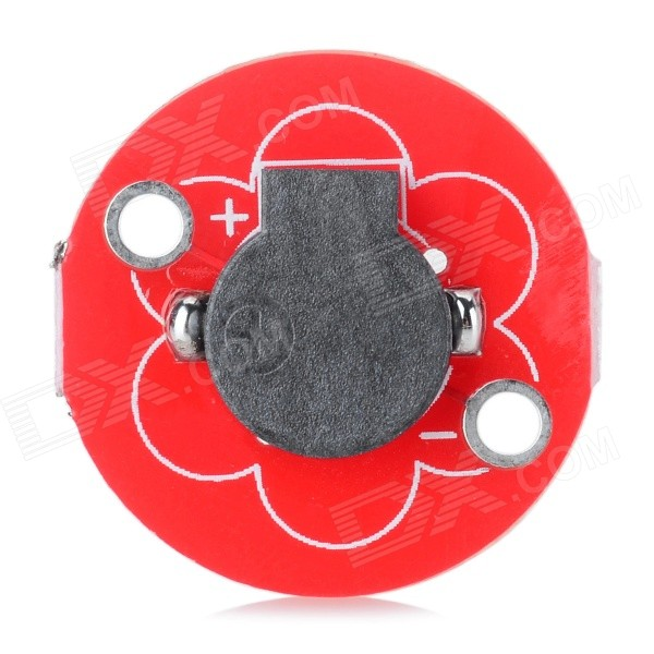5V Active Buzzer Sensor for Arduino Lilypad - Black + RedSensors<br>ColorBlack + RedModelN/AQuantity1 PieceMaterialFR4ApplicationArduino lilypad active buzzerWorking Voltage   5 VEnglish Manual / SpecNoOther FeaturesUsed for the development and application of wearable settings.Packing List1 x Buzzer sensor<br>