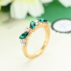 Women's Retro Style Shiny Rhinestone Inlaid Ring - Golden + Green (Size 7)