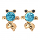 Fashionable Cute Goldfish Style Crystal Earrings - Gold + Green (Pair)
