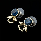 Women's Lovely Little Angel Style Gold Plated Alloy Ear Studs Earrings - Blue + Gold (Pair)