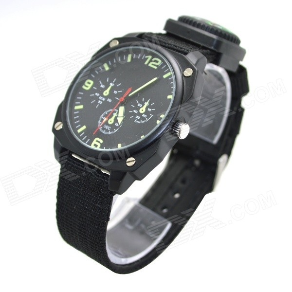 W-13 Cloth Band Quartz Analog Outdoor Sports Wrist Watch - Black - Free  Shipping - DealExtreme a9b088561