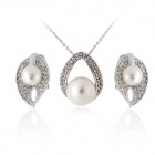 Rshow modischen der Perlen / Kristall verzierten Necklace + Earrings Set - Silber