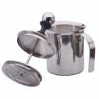NEJE Stainless Steel Pump Double Mesh Milk Frother Coffee Creamer - Silver (400ML)