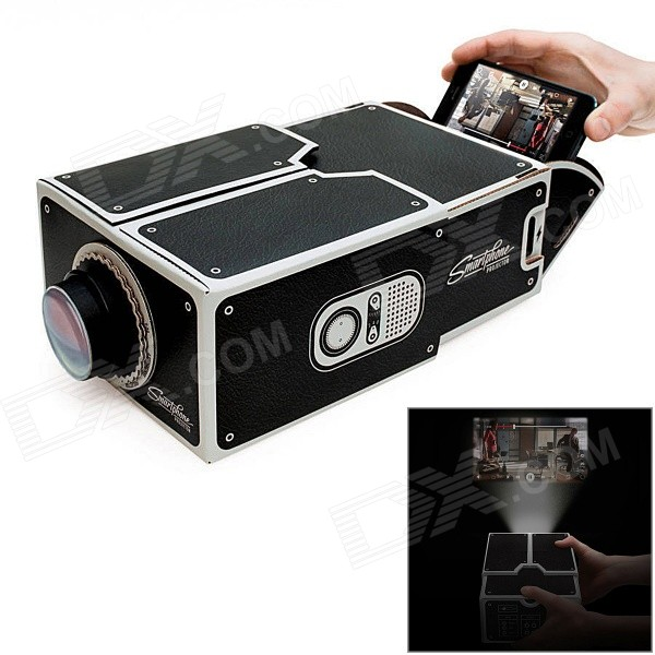 DIY Micro Cardboard Mobile Phone 8x Amplification Projector - Black