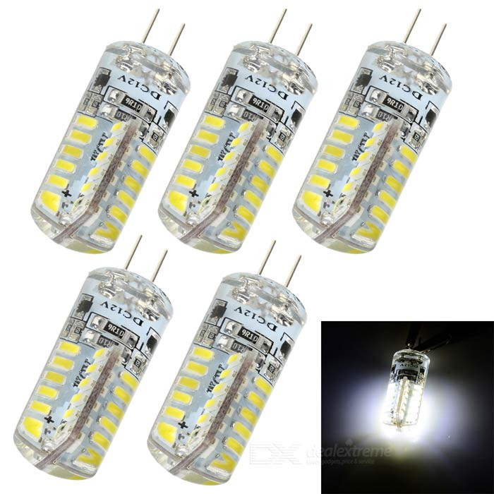 JRLED G4 3W LED Bluish White Light Corn Bulb (DC 12V / 5PCS)G4<br>Form  ColorWhite + Transparent + Multi-ColoredColor BINBluish WhiteModelJRLED-G4-3014-48DMaterialSilicone + steelQuantity5 DX.PCM.Model.AttributeModel.UnitPower3WRated VoltageOthers,DC 12 DX.PCM.Model.AttributeModel.UnitConnector TypeG4Emitter TypeOthers,3014 SMDTotal Emitters48Theoretical Lumens270 DX.PCM.Model.AttributeModel.UnitActual Lumens100~230 DX.PCM.Model.AttributeModel.UnitColor Temperature7500KDimmableNoBeam Angle360 DX.PCM.Model.AttributeModel.UnitOther FeaturesWith more resistors and bridge rectifiers, stable; Good choice for home lighting, crystal light source, cabinet lamp and jewelry display case lighting, etc.Packing List5 x Lamps<br>
