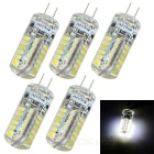 JR-LED G4 3W 230lm 8000K 48-SMD 3014 LED Cool White Corn Lamps - White + Transparent (DC12V / 5 PCS)