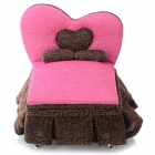 A75-392 Creative Heart Bed Style Cosmetic Storage Box - Pink + Golden