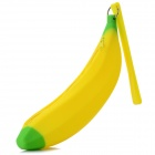 Creative Banana Style Silicone Purse Storage Bag w/ Strap - Yellow + Green