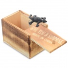 Practical Joke Wood Drawer Style Box w/ Gecko - Grey Black