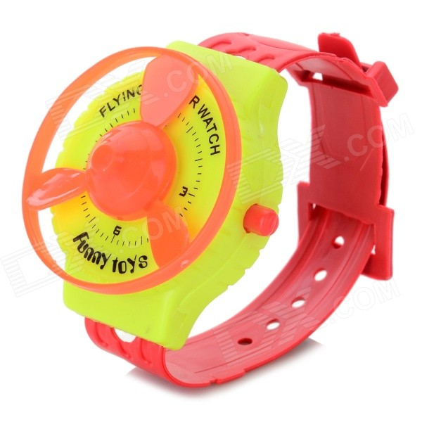 Crative Funny Spring Rotary Flying Saucers Watch Toy - Yellow + Red