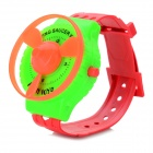 Crative Funny Spring Rotary Flying Saucers Watch Toy - Green + Red