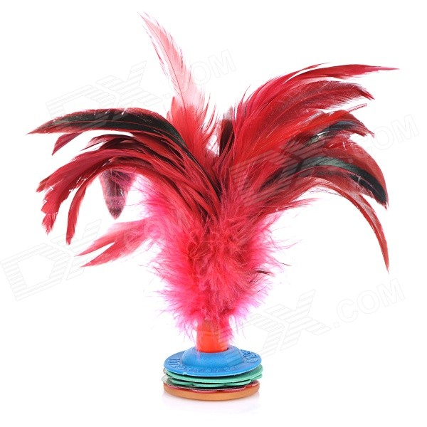 Feather Shuttlecock Kick Toy - Red