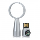 Portable USB 2.0 Flash Drive w/ 10X Magnifier / Compass - Silver (4GB)
