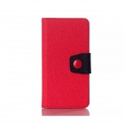 Protective PU Leather + TPU Flip Open Magnetic Case for LG G3 - Red