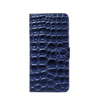 Stone Style Protective PU Leather + PC Flip Open Case w/ Card Slots for IPHONE 6 PLUS - Deep Blue