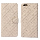 Luxury Woven Pattern Protective PU Leather + PC Flip Open Case w/ Card Slots for IPHONE 6 PLUS