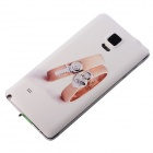 Lovers Ring Pattern Case for Samsung Galaxy Note 4 - White + Champagne